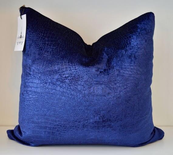 Royal Blue Croc Velvet Throw Pillow