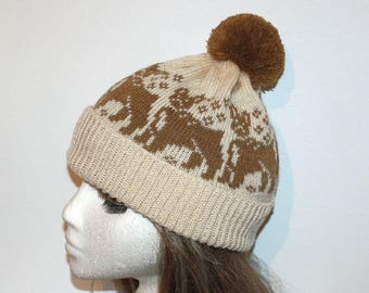 Cream beanie hat with French Bulldogs - With or without Pompom Top
