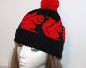 Black Beanie Hat with Red Squirrels - with or without Pompom option