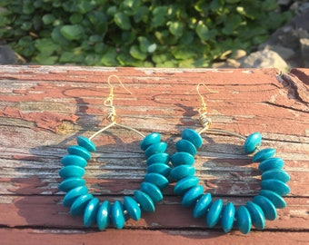 Turquoise wooden earrings