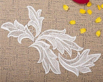 2 pcs  White Embroidery Leaf Lace Applique DIY Trim Appliques Patch Clothing Accessories, WL1603