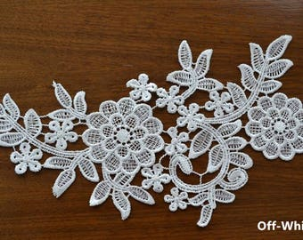 1 Pair Bridal Lace Applique Trim Appliques in Off-White for   Weddings,Sashes,Veils,Headpieces, WL770