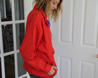 Vintage 80's Red Pullover Windbreaker