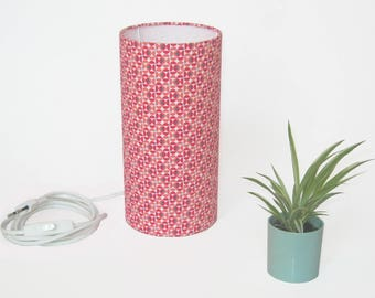 24 cm geometrical printed coral Tube table lamp