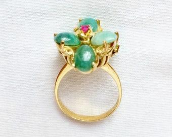 Estate 18k Gold HEAVY Vintage Genuine Solid Jade Ruby Statement Dinner Cocktail Ring 8.6g sz 9 Marked 750 18kt 18 k kt Karat Green Flower