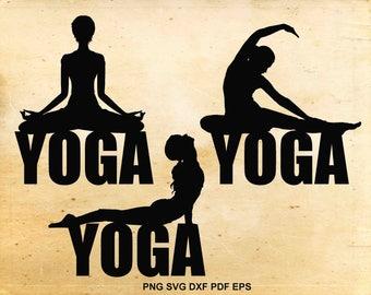 Yoga svg files, Yoga clipart, Yoga silhouette, Fitness svg, Cut files for Silhouette Cameo, Files for Cricut, png eps dxf svg pdf