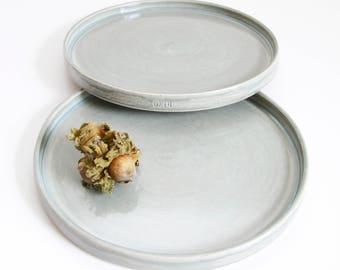 two opal grey dessert plates, medium, shiny, handmade, ceramic, pottery, stoneware, wheel thrown, glazed