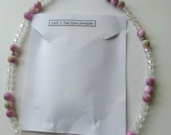 Necklace beaded natural stone and glass beads