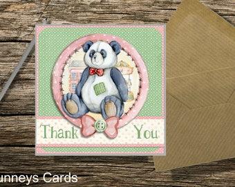 Thank you Greetings Card - Teddy bear design