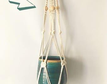 """Timber"" Burgundy natural cotton Macrame hanger"