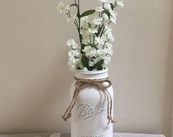 Chalk painted Mason jar, half gallon, home decor, shabby chic, farmhouse, farmhouse style