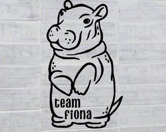 Team Fiona baby hippo decal, #TeamFiona, Fiona Fan decal, fiona the hippo sticker, Cincy souvenir, gifts from Ohio, hippopotamus decal