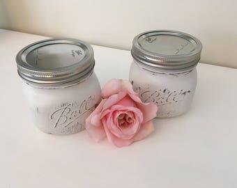 Painted Mason Jar, White Chalk Paint, Lightly Distressed