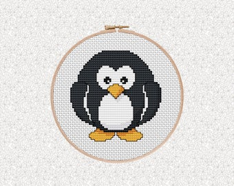 Cool Cross Stitch Penguin, Modern Cross Stitch Pattern, Baby Shower Gift, Gift for Him