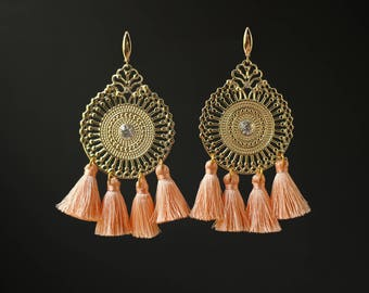 Peach Tassels Earrings with Silver Plated Earwires Round Peach and Gold Summer Earrings Tassels Jewelry