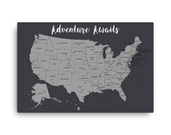 Travel Map Etsy - Blank map of the us travel log