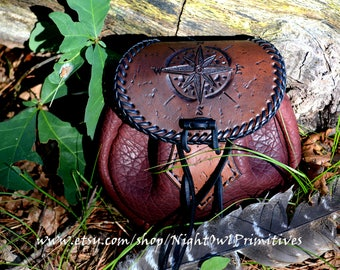Sporran style leather/bison compass belt pouch with ferrocium toggle