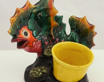 PALISSY Portuguese MAJOLICA Faience pottery fish spill holder C19th