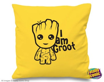 Baby Groot - Yellow Pillow/Cushion Cover - Baby Groot - Guardians of the Galaxy - I am Groot