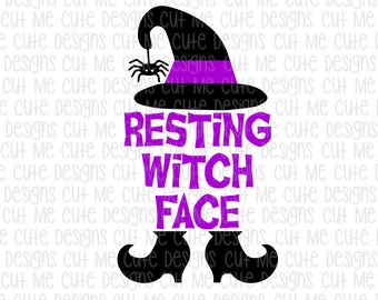 SVG DXF PNG cut file cricut silhouette cameo scrap booking Resting Witch Face