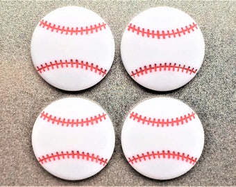 Baseball Magnets in Decorative Tin | Set of 4 | Super Strong | Sports Magnets | Baseball Fridge Magnets | Athletic Magnets | Baseball Decor