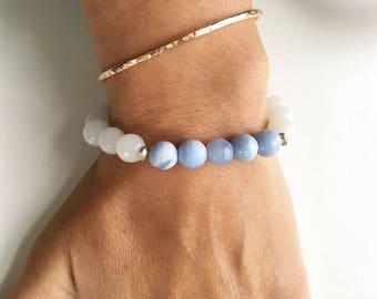 Blue Lace Agate Beaded Stretch Bracelet by Sparkle MountainJewels