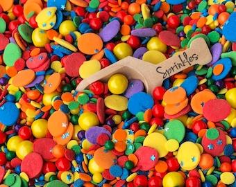 Edible Sprinkles, Birthday Sprinkles, Party Sprinkles, Edible Stars, Sprinkles, Sprinkle Medley, Sprinkle Mix, Rainbow Sprinkles, 2.5oz