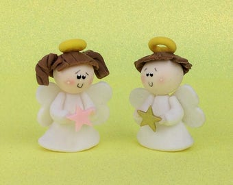 Set of 12 Cold Porcelain Angels For Boys and Girls Baptism Favors First Communion Christening Favors Bautizo Recuerdos Primera Comunion