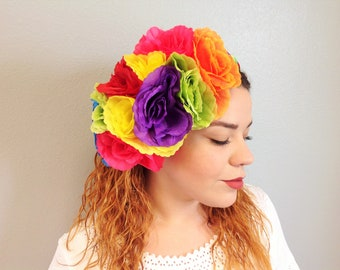 Mexican Floral Headband Adult Size Colorful Flowers Headband Crown Frida Kahlo Headband Mexican Tiara Fabric Flowers