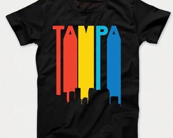 Retro 1970's Style Tampa Florida Cityscape Downtown Skyline Kids T-Shirt