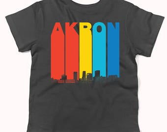 Vintage 1970's Style Akron Ohio Skyline Infant / Toddler T-Shirt