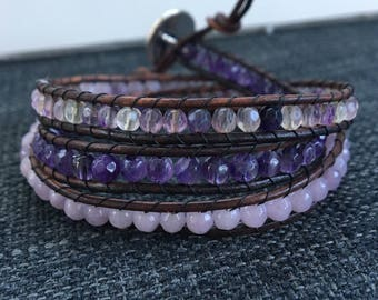 Gemstone and Amethyst Triple Wrap Bead Bracelet with Brown Leather