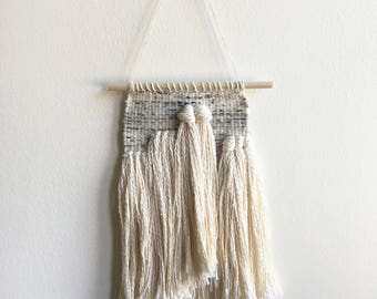 White and Grey Wool Fringe Woven Wall Hanging