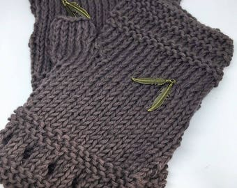 Taupe organic cotton fingerless gloves