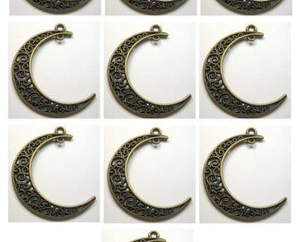 Fancy Moon Finding Bronze Antiqued Brass Color Qty 10