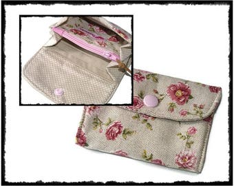 Floral Wallet, small wallet, mini wallet, Floral, Accordion Wallet, Cute Fabric Wallet, card holder, wallet for her, slim wallet, Linen