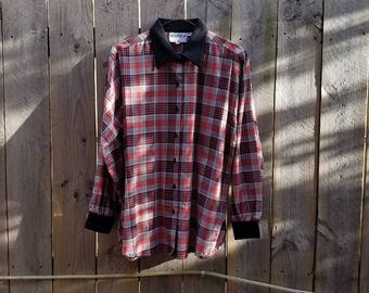 Vintage Silver Stream Women's Plaid Button Up Size Small