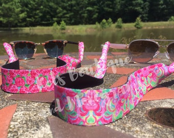 Lilly Inspired Sunglass Straps, Monogrammed Sunglass Straps, Personalized Eyeglass Straps, Eyeglass Straps