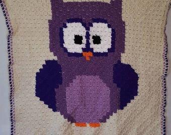 Baby blanket purple owl