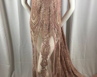 Embroidered Beaded Fabric - Rose Mauve Lace Heavy Beads By The Yard For Bridal Veil Flower Mesh Dress Top Wedding Decoration
