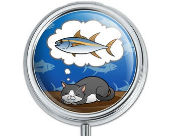 Cat Dreaming of Fish Pill Case Trinket Gift Box