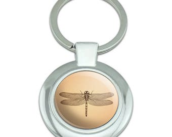 Dragonfly Vintage Insect Classy Round Chrome Plated Metal Keychain
