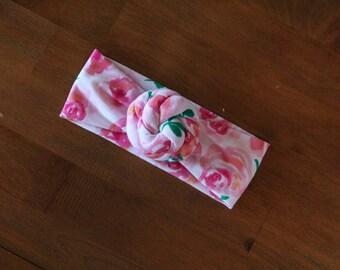 Floral Top Knot Baby Headwrap - Turban Headband - Baby Turban Headband - Top Knot Baby Turban - Baby Headwrap - Floral Top Knot Headband