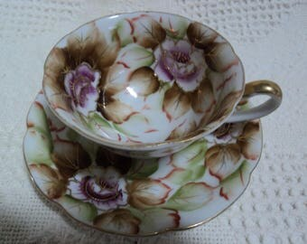 Vintage Hand Painted Shafford Teacup & Saucer, Tea Cup, Brown, Purple Flowers, Porcelain, Fine China, China Duo, Bridal Gift, Shower Gift