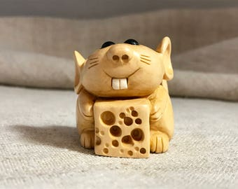 Hand Carved Wooden Figurine Rat with a Candle and Cheese