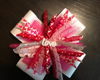 Valentine's Day Love Stacked Korker Bow