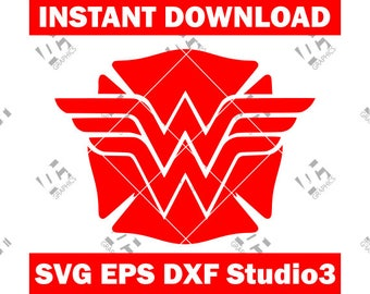Wonder Woman Fire Fighter - Fire Dept Badge - Cutting File in SVG, EPS, DXF, and Studio3 - Cricut, Silhouette Cameo Studio- Instant Download