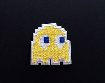 "Yellow Ghost Iron on Embroidered patch (1.75"")"