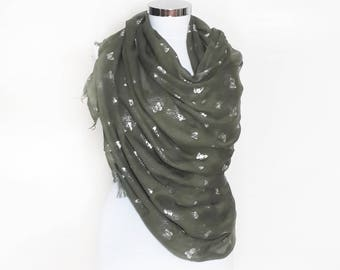 Forest green butterfly scarf, butterfly scarf, green scarf with silver butterfly, long scarf, wrap scarf, green shawl, plus size, pashmina
