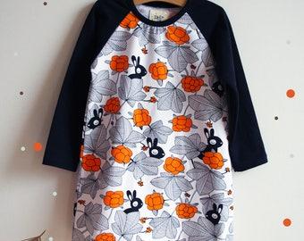 "Dress for girl, stretchy organic jersey, printed ""Hilda"""